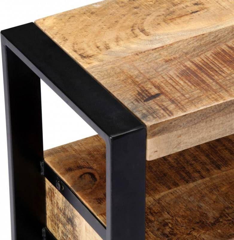 Tv Meubel Plank.Vidaxl Tv Meubel Met 2 Schuifdeuren 110x30x45 Cm Massief Mangohout
