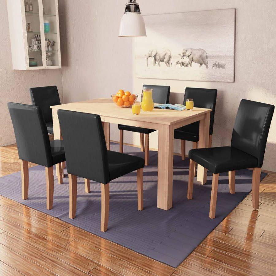 Stoelen Voor Bij Een Eettafel.Vidaxl Eettafel Met Stoelen Kunstleer En Eikenhout Zwart 7 St